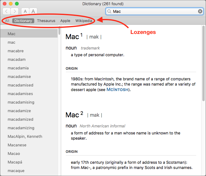 Dictionary-Mac-lookup